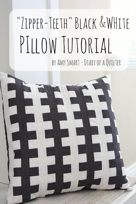 Zipper Teeth Pillow tutorial DIY