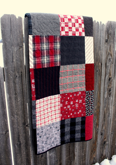 black and red quilt