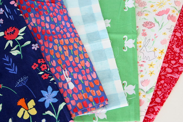 Sommer rabbits, swans, flower fabric