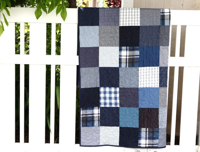 making denim patchwork quilt